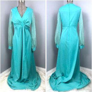Vintage Teal Floor Length Dress w/ Chiffon Sleeves